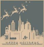 San Francisco Christmas Card Art Deco. Happy Holidays vector vintage skyline seasons greetings royalty free illustration