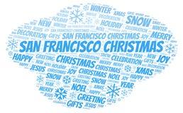 San Francisco Christmas word cloud vector illustration
