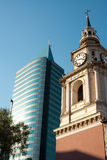 San Francisco Church. And a modern building, Santiago, Chile, South America Royalty Free Stock Photo