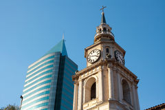 San Francisco Church. And modern building, Santiago, Chile, South America Royalty Free Stock Image