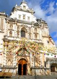 San Francisco Church, Antigua, Guatemala. The ruins of San Francisco church and convent, decorated with colorful bannerets. Antigua, Guatemala Royalty Free Stock Photo