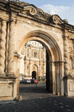 San Francisco church at Antigua. On Guatemala royalty free stock photos