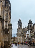 San Francisco church, Santiago de Compostela, Spain. Santiago de Compostela, SPAIN -  MAY 14, 2016: Two Bell towers and facade of San Francisco church in Stock Image