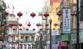 SAN FRANCISCO - CIRCA 2017: Colorful decorations hang above the. Shops along Waverly Place in the Chinatown neighborhood of San Francisco, California in the Royalty Free Stock Photo