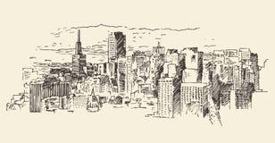 San Francisco City Architecture Vintage Engraved Stock Image