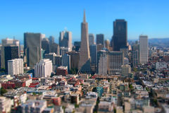 San Francisco City Downtown California Tilt Shift. Tilt shift miniature city of San Francisco California USA Royalty Free Stock Image