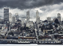 San Francisco City Downtown in rainy day, California Royalty Free Stock Photography