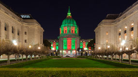 San Francisco City Hall. In red and green light around Christmas Stock Image