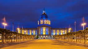 San Francisco City Hall in Blue and Gold. San Francisco City Hall at night in blue and gold light, in honor of the Golden State Warriors Royalty Free Stock Image