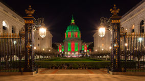 San Francisco City Hall during Christmas. View of San Francisco City Hall in red and green light around Christmas Royalty Free Stock Photos
