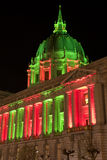San Francisco City Hall in Christmas Green and Red Lights Royalty Free Stock Image