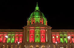 San Francisco City Hall in Christmas Green and Red Lights Royalty Free Stock Photo