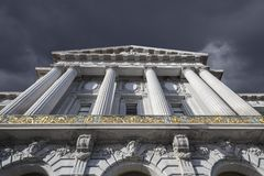 San Francisco City Hall WIth Dark Storm Cloud Stock Photo