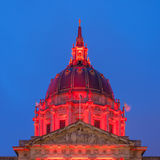 San Francisco City Hall Dome. Dome of the San Francisco City Hall building in festive red light in honor of World AIDS day Royalty Free Stock Photography