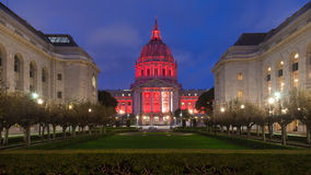 San Francisco City Hall at Night. Night time panorama of San Francisco City Hall illuminated by red light in honor of World AIDS day Royalty Free Stock Image