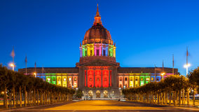 San Francisco City Hall in Rainbow Colors. San Francisco City Hall illuminated in rainbow colors in honor of Pride Week Royalty Free Stock Photos