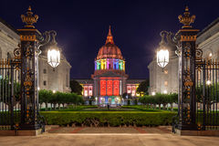 San Francisco City Hall in Rainbow Colors. San Francisco City Hall illuminated in rainbow colors in honor of Pride Week Stock Photography