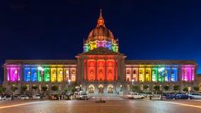 San Francisco City Hall in Rainbow Colors. SAN FRANCISCO - JUNE 27: City Hall illuminated in rainbow colors in honor of Pride Week. Taken on June 27, 2013 in San Royalty Free Stock Image