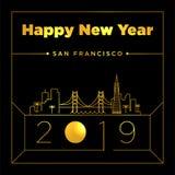 San Francisco City New Year Card Design Template stock illustration