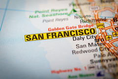 San Francisco City on a Road Map Royalty Free Stock Images