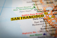 San Francisco City on a Road Map Stock Photo