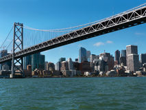 San Francisco city scape from under Bay Bridge Royalty Free Stock Photography