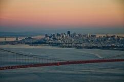 San Francisco city skyline. Night scene of San Francisco skyline with Golden Gate Bridge on the foreground Royalty Free Stock Photo