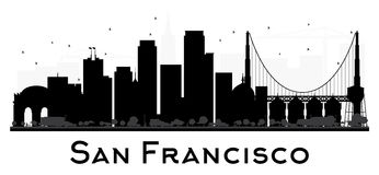San Francisco City skyline black and white silhouette. Royalty Free Stock Photography