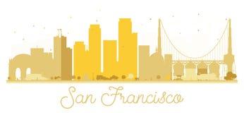 San Francisco City skyline golden silhouette. Royalty Free Stock Photos