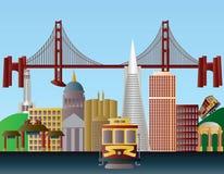 San Francisco City Skyline Illustration. San Francisco California City Skyline with Golden Gate Bridge Illustration Royalty Free Stock Image