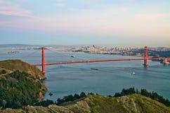 San Francisco city skyline. Night scene of San Francisco skyline with Golden Gate Bridge on the foreground Stock Image