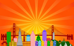 San Francisco City Skyline Panorama. San Francisco California City Skyline Panorama Color Silhouette with Sun Rays Clip Art Illustration vector illustration