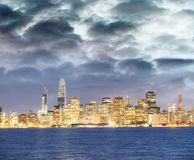 San Francisco city skyline with sea reflections at night.  Royalty Free Stock Image
