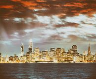 San Francisco city skyline with sea reflections at night.  Royalty Free Stock Images