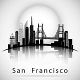 San Francisco city skyline silhouette Stock Photography