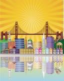 San Francisco City Skyline at Sunrise Illustration. San Francisco California City Skyline with Golden Gate Bridge with Sunrise Background Illustration Royalty Free Stock Photography