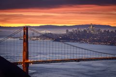 San Francisco City at Sunrise Stock Photography