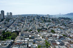 San Francisco city toward Golden Gate bridge Stock Images