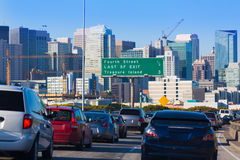 San Francisco city traffic in rush hour with downtown skyline. California USA Stock Images