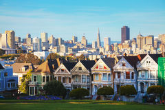 San Francisco cityscape as seen from Alamo square park Stock Photo