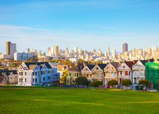 San Francisco cityscape as seen from Alamo square park Stock Image