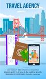 San Francisco Cityscape Flat Flyer con el espacio del texto stock de ilustración