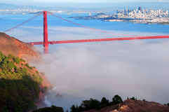 san francisco cityscape and golden gate bridge Royalty Free Stock Photo