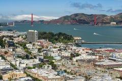 San Francisco cityscape and Golden Gate Bridge. San Francisco, 28 May 2013: Aeriel view of downtown San Francisco bay area and Golden Gate Bridge Stock Photography