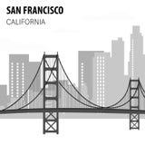 San Francisco Cityscape Monochrome Illustration royalty illustrazione gratis