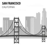 San Francisco Cityscape Monochrome Illustration royalty free illustration