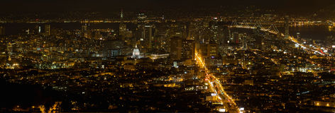 San Francisco Cityscape at Night Panorama Royalty Free Stock Photo