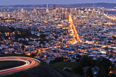 San Francisco Cityscape at Night. Showing Market Street, the Downtown Financial District, the Bay and Bridges royalty free stock photography