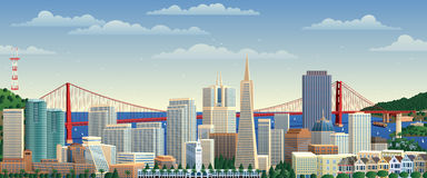 San Francisco. Cityscape. No transparency used. Basic (linear) gradients royalty free illustration