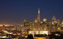 San Francisco cityscape panorama at night Stock Photography